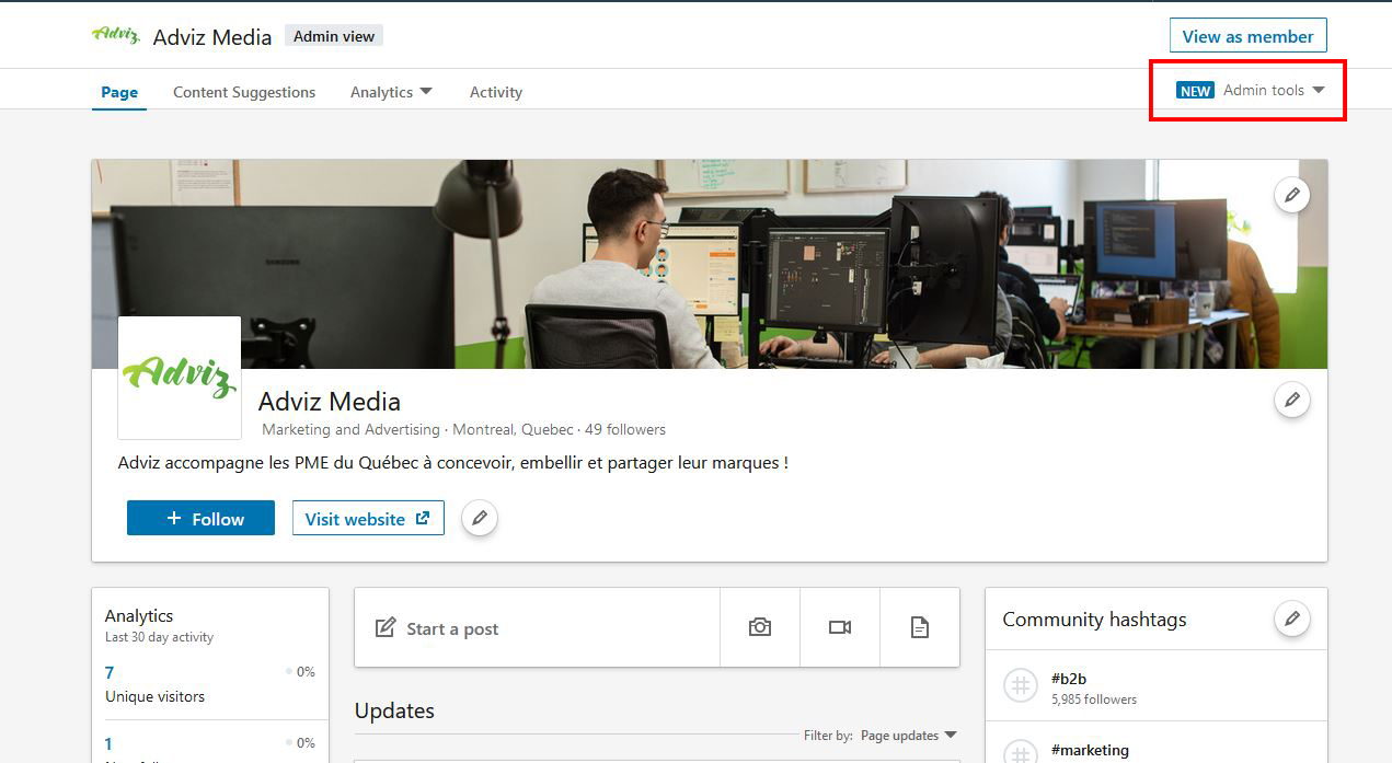 Un screenshot de l'interface administrateur d'une page Linkedin