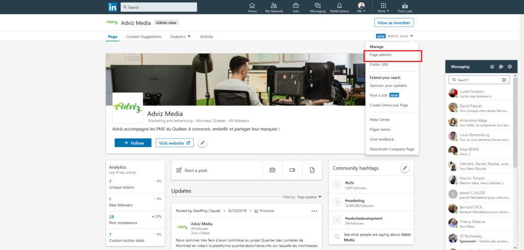 Un screenshot de l'interface administrateur d'une page Linkedin avec le bouton Admin tools