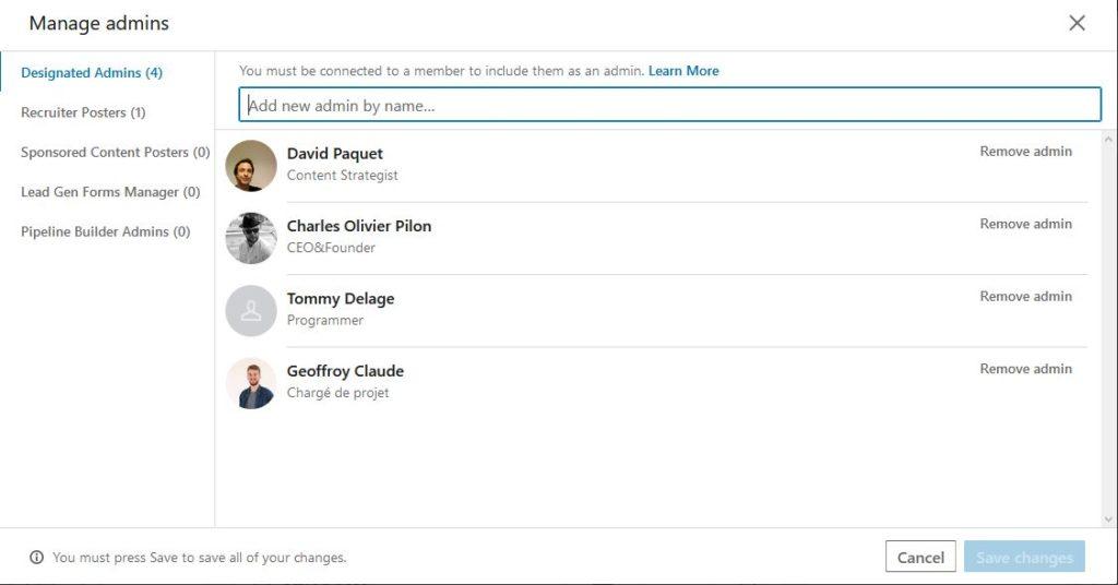 Un screenshot de l'interface administrateur d'une page Linkedin