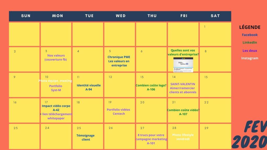 Calendrier de publications du mois de février